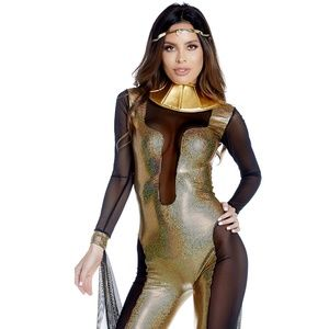 Cleopatra Costume Mesh Gold Jumpsuit Drape Collar